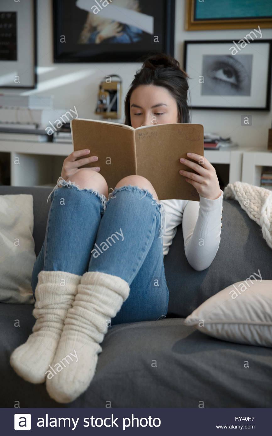 Cozy young woman reading on living room sofa - Stock Image