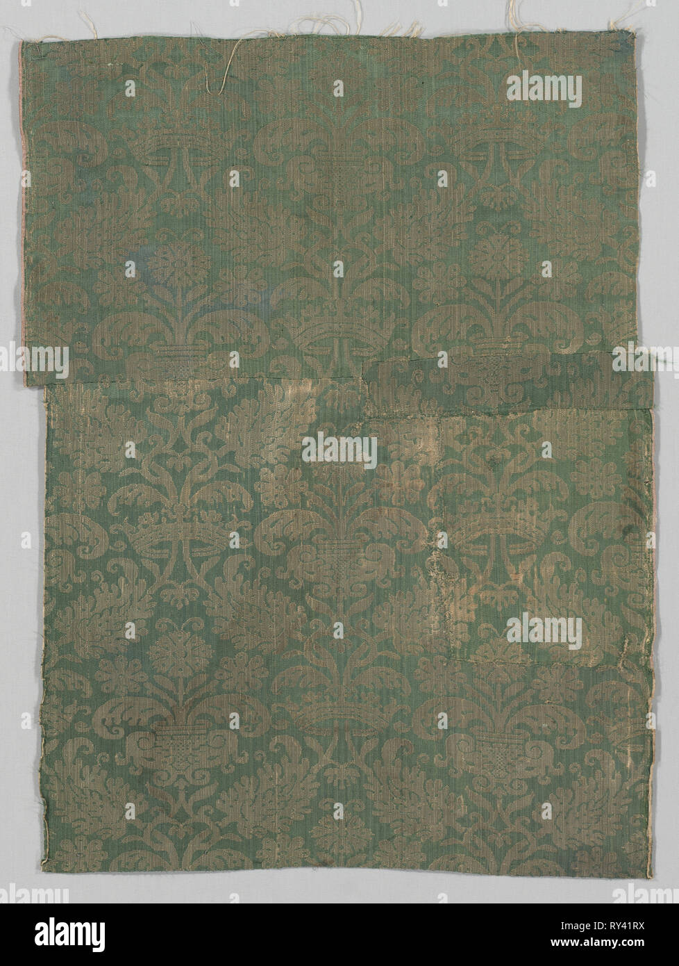 Two Lengths of Textile, 1500s. Italy or Spain, 16th century. Damask, silk; overall: 75 x 56 cm (29 1/2 x 22 1/16 in - Stock Image