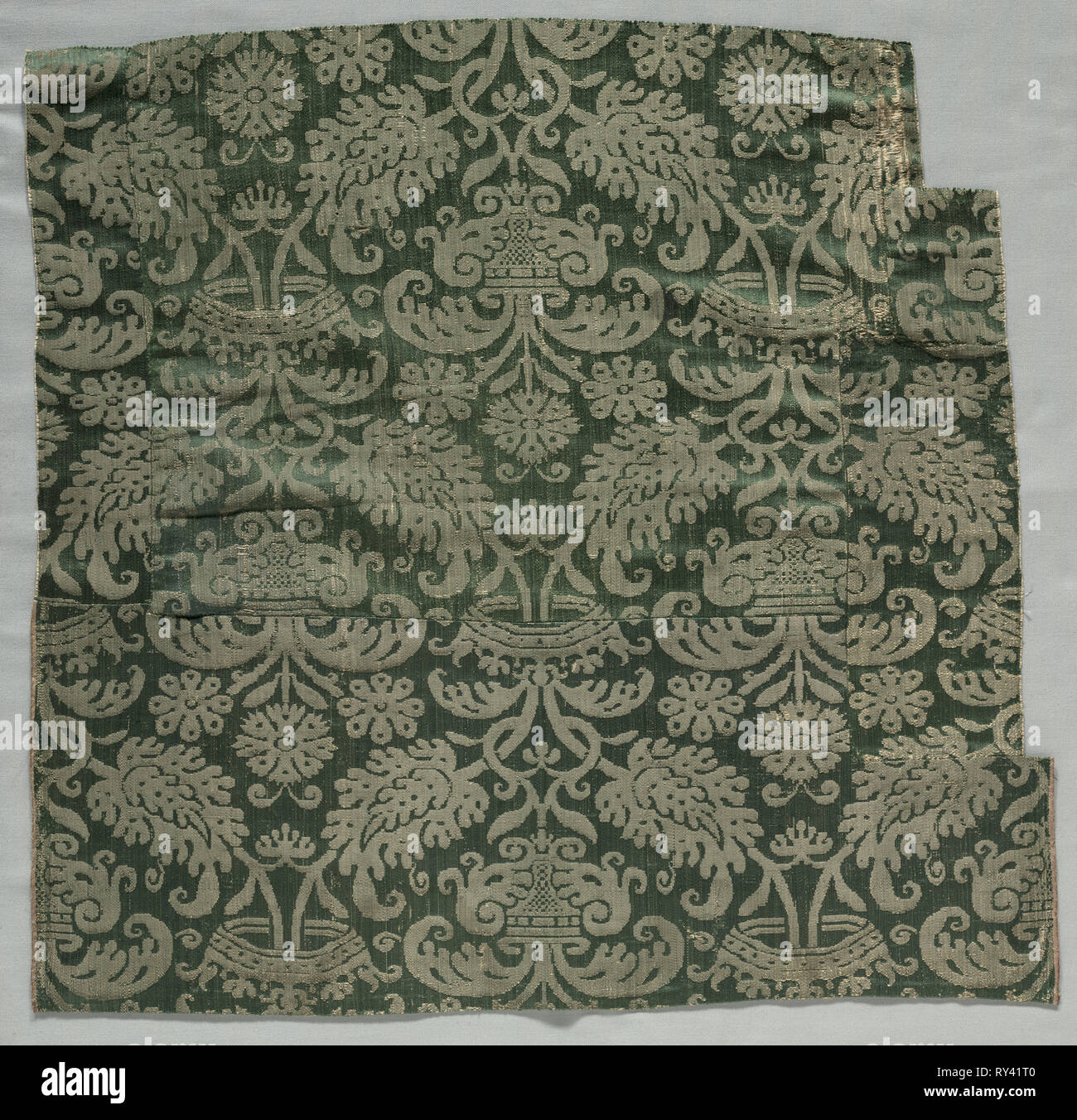 Two Lengths of Textile, 1500s. Italy or Spain, 16th century. Damask, silk; overall: 54.2 x 56 cm (21 5/16 x 22 1/16 in - Stock Image