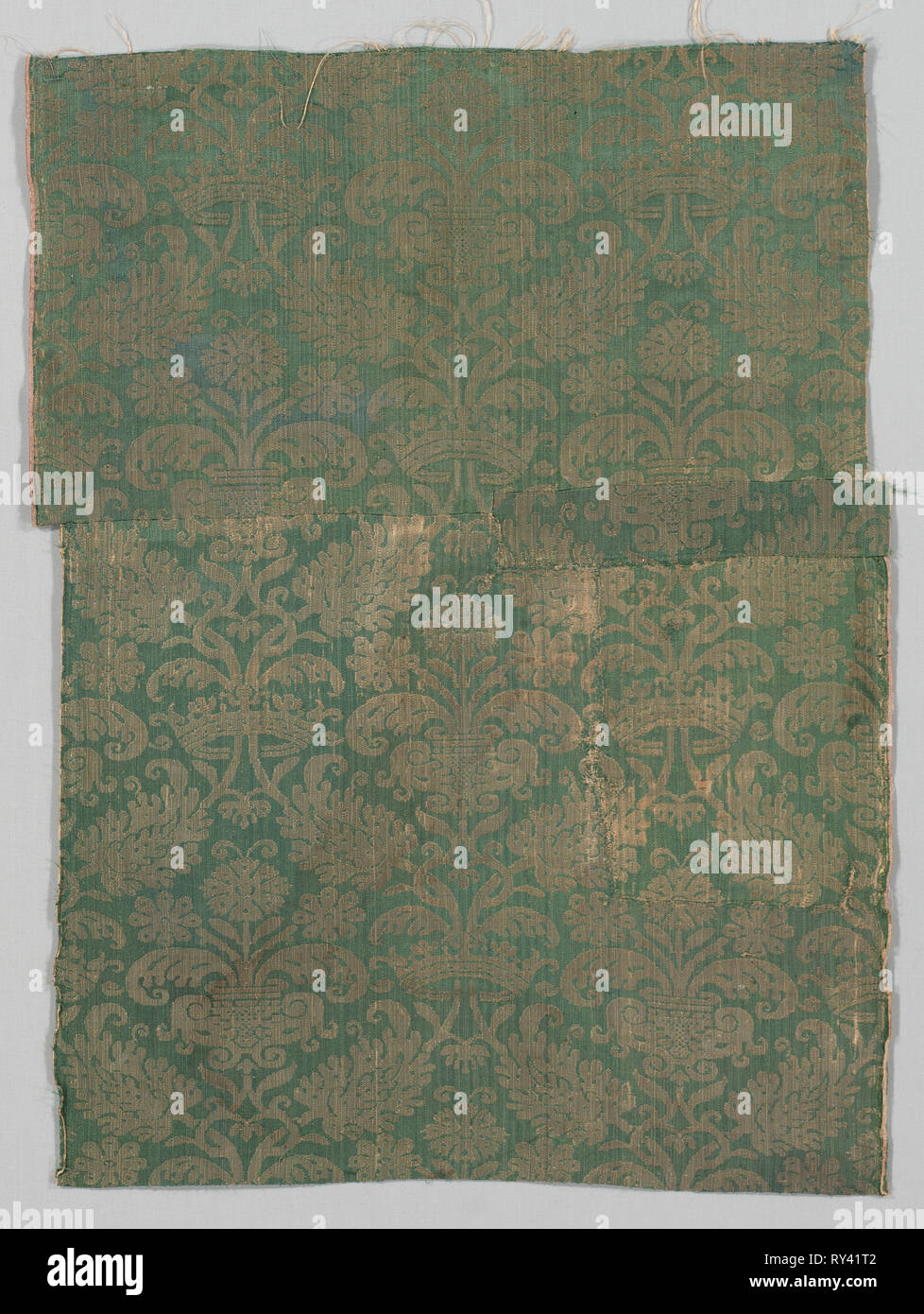 Two Lengths of Textile, 1500s. Italy or Spain, 16th century. Damask, silk; average: 75 x 56 cm (29 1/2 x 22 1/16 in - Stock Image