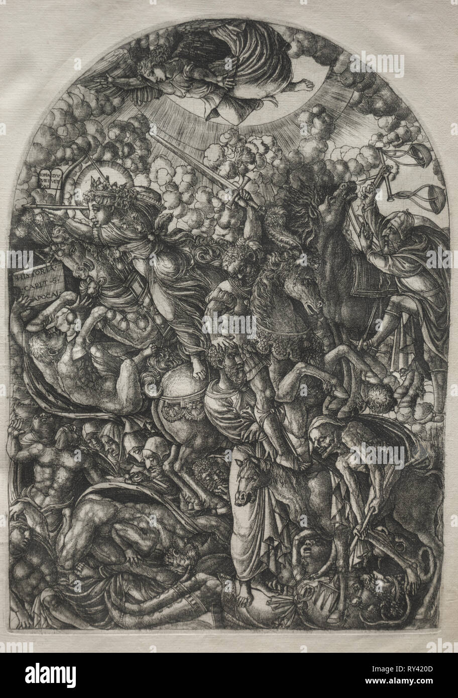 The Apocalypse:  St. John Sees the Four Riders, 1546-1556. Jean Duvet (French, 1485-1561). Engraving - Stock Image