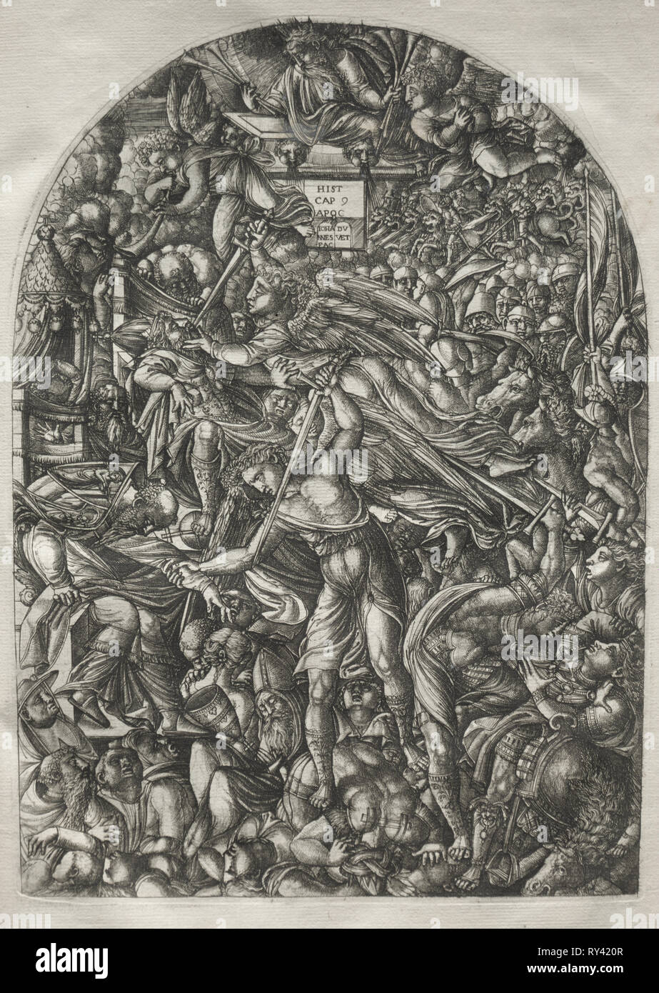 The Apocalypse:  The Angel Sounding the Sixth Trumpet, 1546-1556. Jean Duvet (French, 1485-1561). Engraving - Stock Image