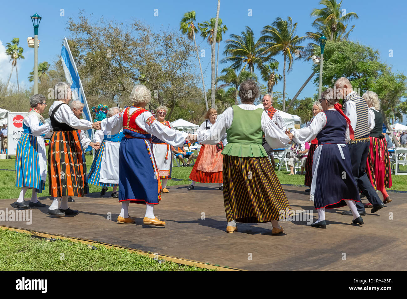 Lake Worth, Florida, USA March 3, 2019,​ Midnight Sun Festival Celebrating Finnish Culture. The couples form a large circle during a Finnish dance. - Stock Image