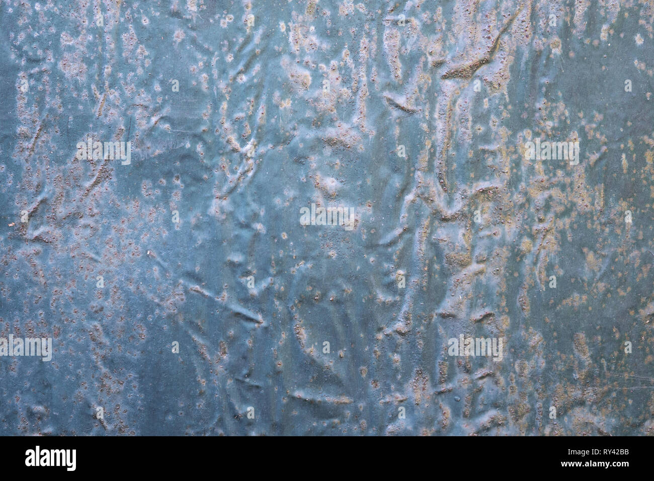 Aged galvanized steel plate. Metallic background texture - Stock Image
