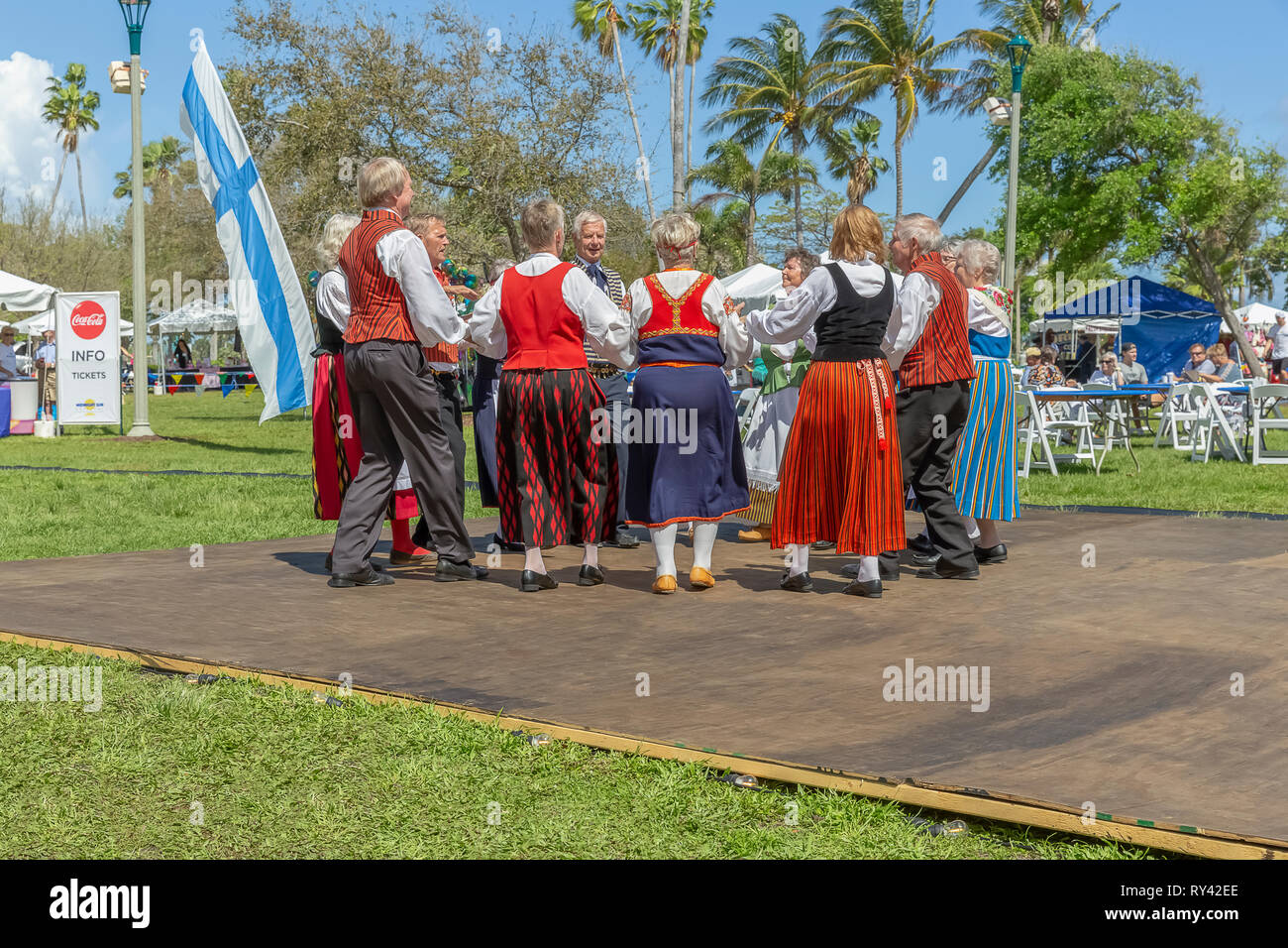 Lake Worth, Florida, USA March 3, 2019,​ Midnight Sun Festival Celebrating Finnish Culture. The couples are dressed in traditional Finnish clothing. - Stock Image