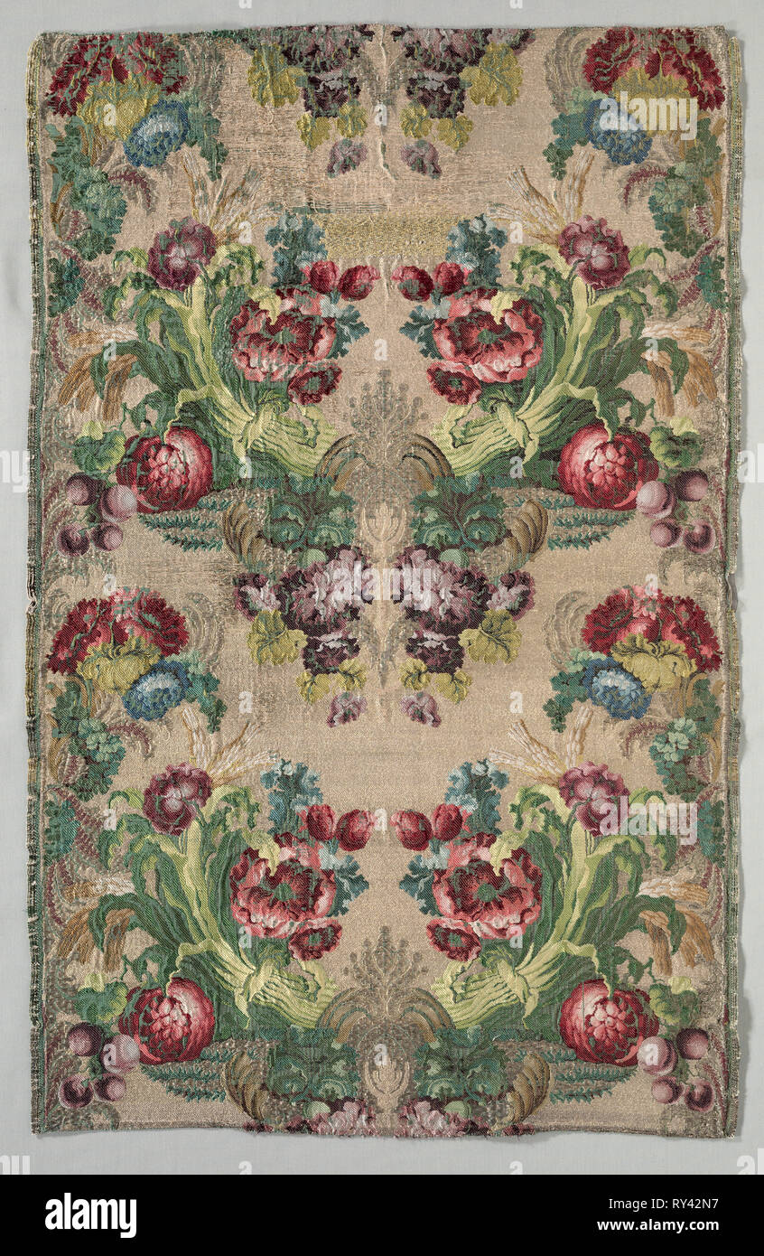 Lengths of Textile, 1700s. Italy, 18th century. Brocade; silk and metal; average: 83.3 x 53.7 cm (32 13/16 x 21 1/8 in - Stock Image