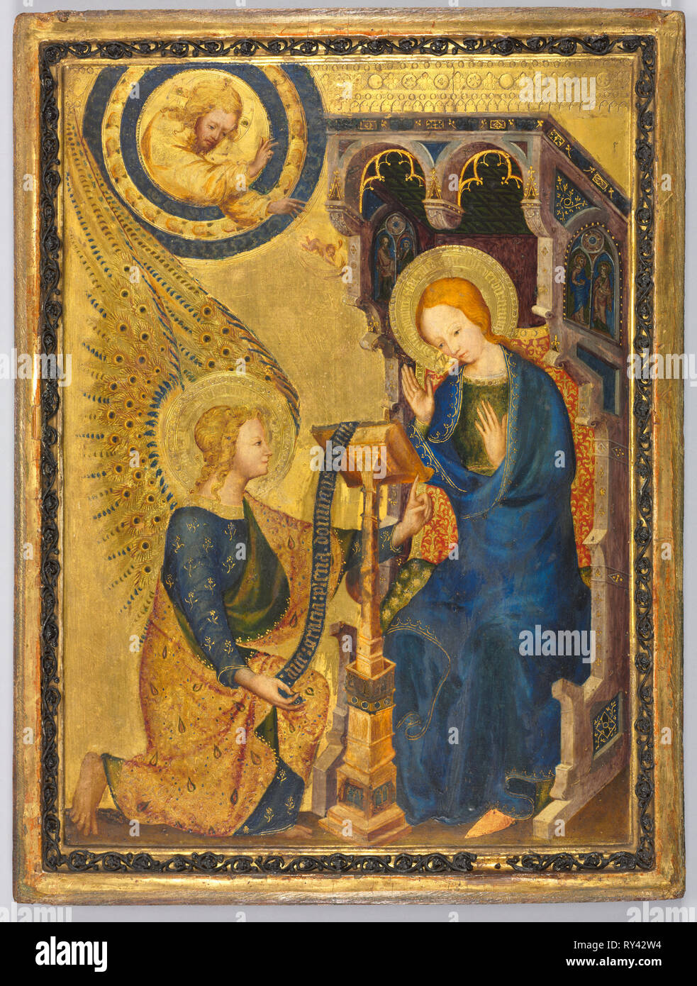 The Annunciation, 1380s. Netherlands, or possibly France, 14th century. Tempera and oil with gold on wood; framed: 40.3 x 31.4 x 4.8 cm (15 7/8 x 12 3/8 x 1 7/8 in - Stock Image