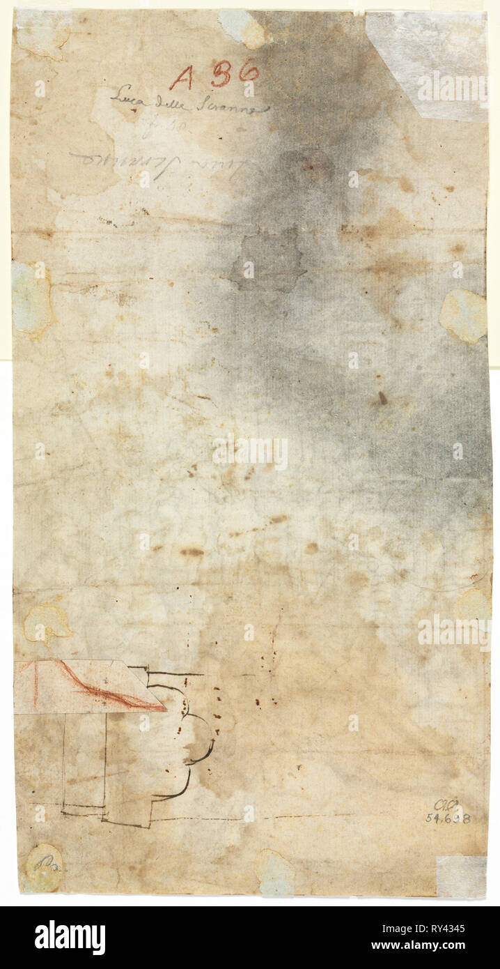 Architectural Sketch, 1500s. Italy, 16th century. Pen and brown ink with red chalk (on separately applied piece of paper); pricked and pounced in left half (for an unrelated image); sheet: 14.4 x 26.9 cm (5 11/16 x 10 9/16 in - Stock Image