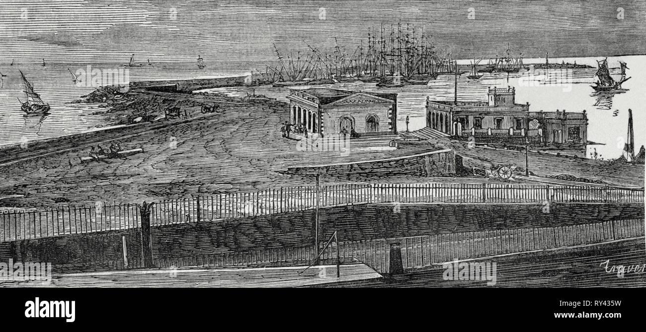 Spain, Catalonia, Tarragona. Port. Engraving. Crónica General de España, Historia Ilustrada y Descriptiva de sus Provincias. Catalonia. 1866. - Stock Image