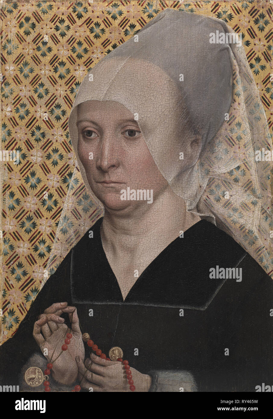 Portrait of a Woman, c. 1490-1495. Master of the Holy Kinship (German). Oil on wood; framed: 44 x 34.5 x 5.5 cm (17 5/16 x 13 9/16 x 2 3/16 in.); unframed: 30.3 x 21.3 cm (11 15/16 x 8 3/8 in - Stock Image
