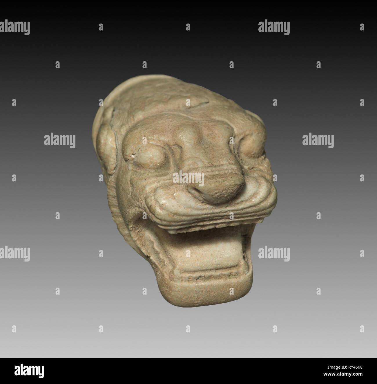 Lion's Head, 5th Century BC. Iran, Achamenid period. Marble; overall: 5.5 cm (2 3/16 in - Stock Image