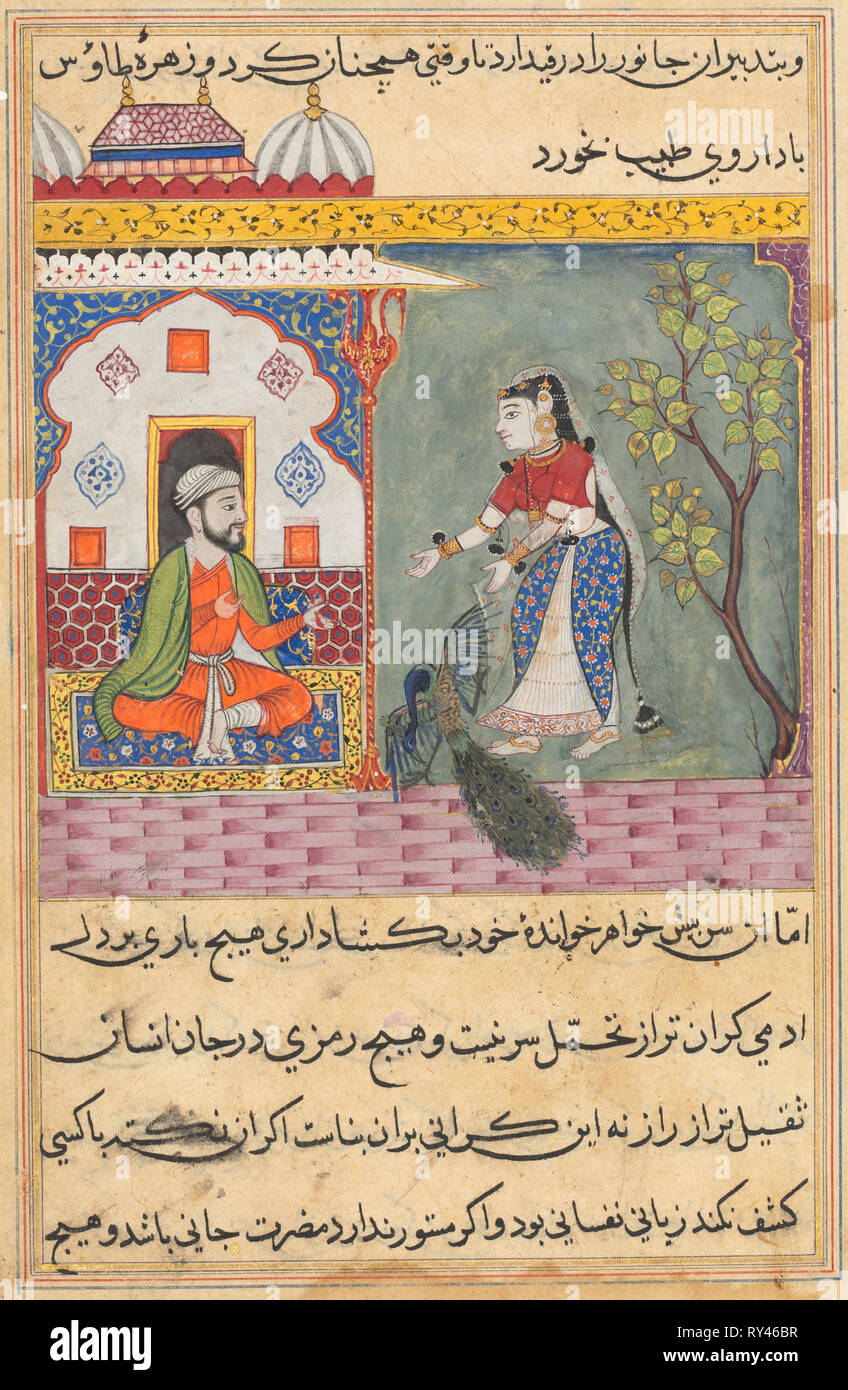 Page from Tales of a Parrot (Tuti-nama): Nineteenth night: The Brahman's wife who killed a peacock and ate its gall bladder on the physician's advice, c. 1560. India, Mughal, Reign of Akbar, 16th century. Opaque watercolor, ink and gold on paper - Stock Image