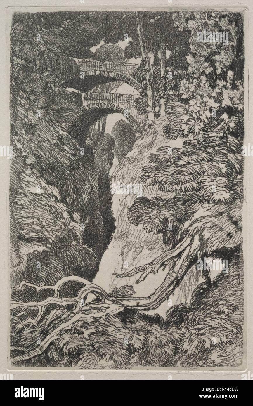 Liber Studiorum:  Devil's Bridge, Cardiganshire, 1838. John Sell Cotman (British, 1782-1842). Soft ground etching - Stock Image