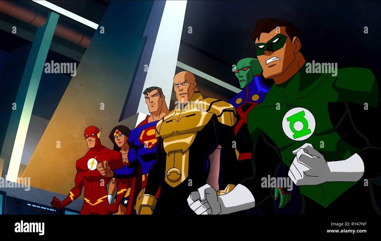 FLASH,WOMAN,SUPERMAN,LANTERN, JUSTICE LEAGUE: CRISIS ON TWO EARTHS, 2010 - Stock Image