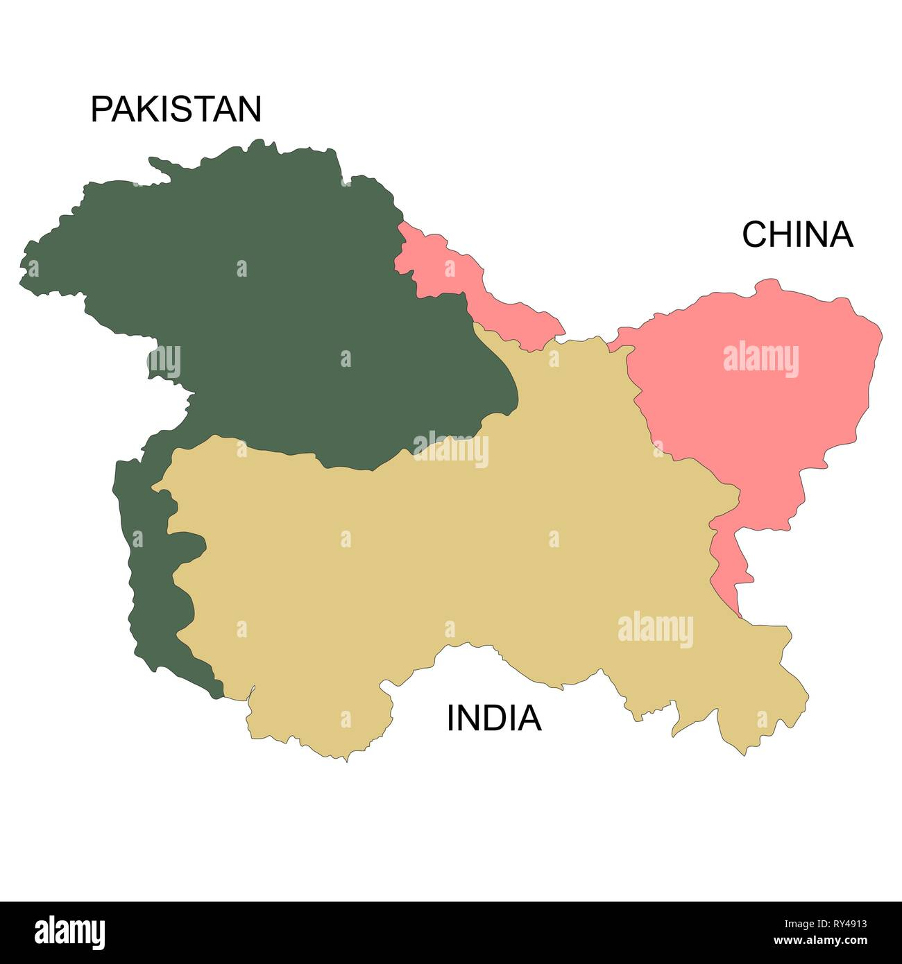 India Pakistan Border Map Stock Photos & India Pakistan