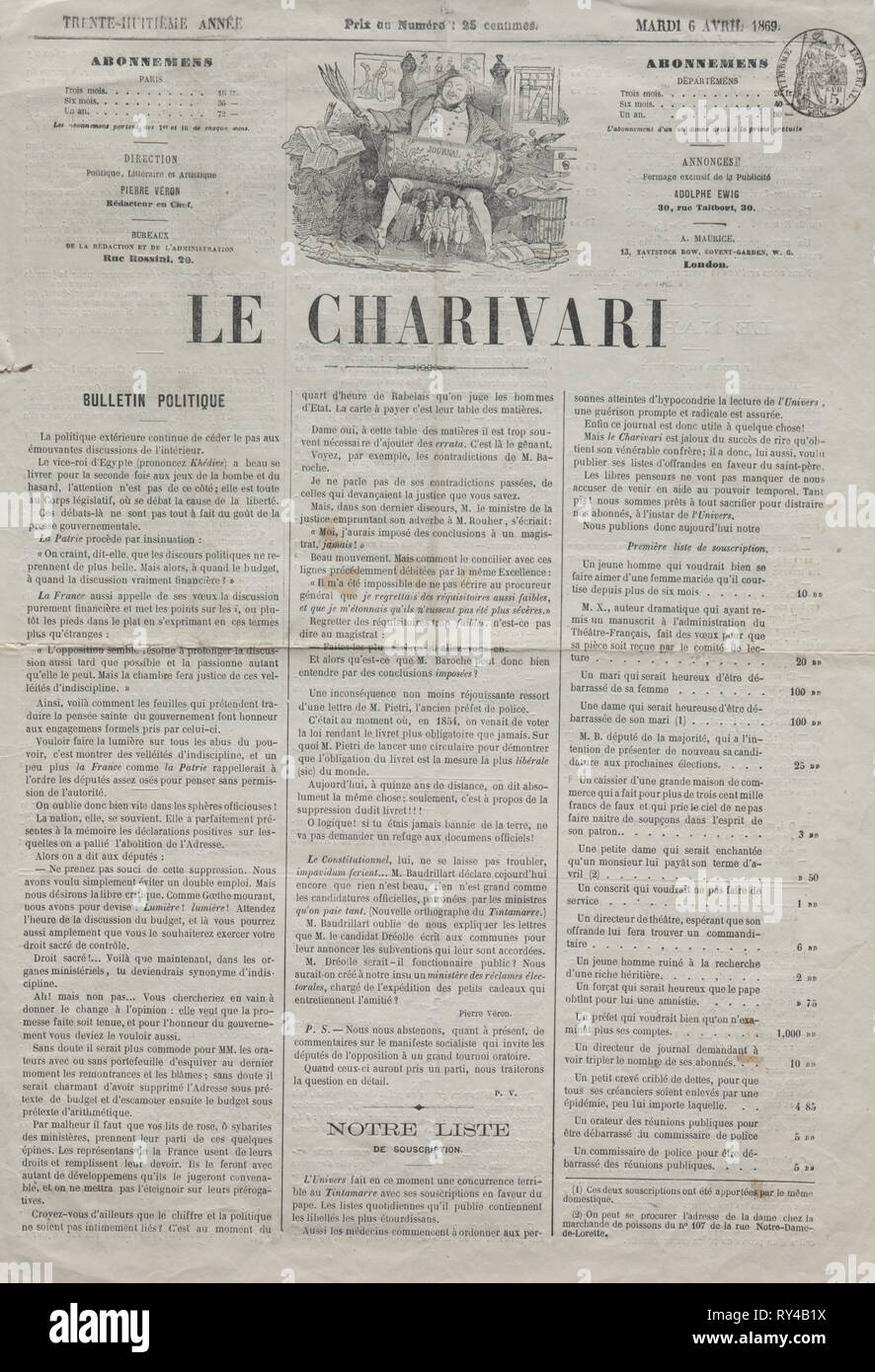 Published in le Charivari (6 April 1869): Actualities (No. 64): Difficulties in becoming svelte, 1869. Honoré Daumier (French, 1808-1879). Lithograph; sheet: 44 x 61 cm (17 5/16 x 24 in.); image: 23.8 x 20.3 cm (9 3/8 x 8 in - Stock Image