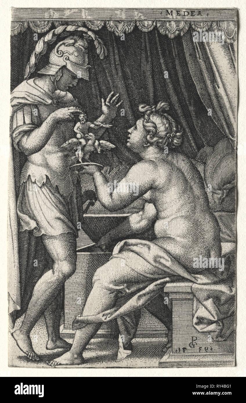 Medea and Jason, 1539. Georg Pencz (German, c. 1500-1550). Engraving - Stock Image