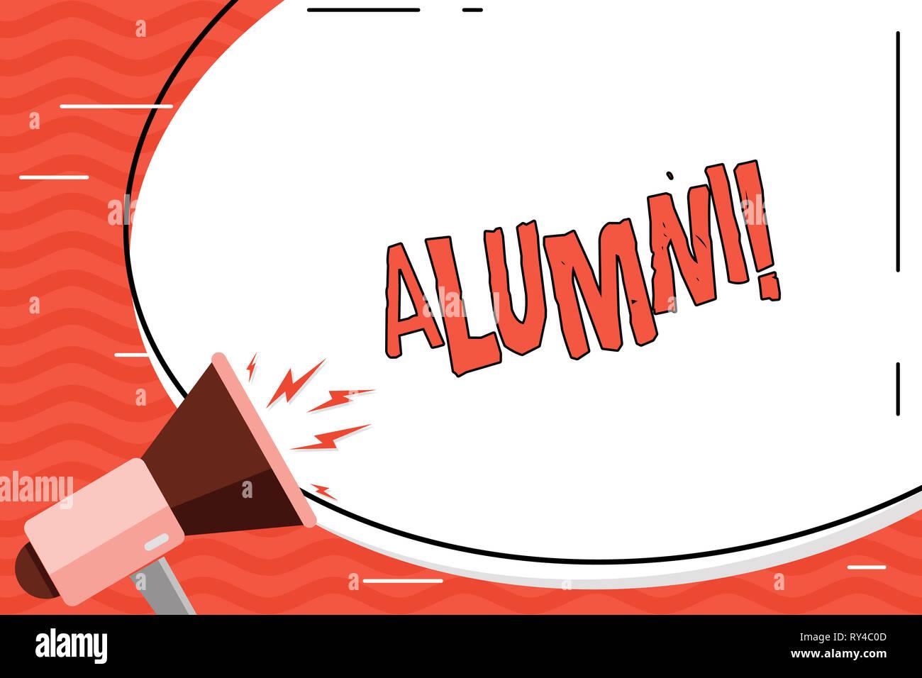 Word writing text Alumni. Business photo showcasing Alum Old graduate Postgraduate Gathering College Academy Celebration - Stock Image