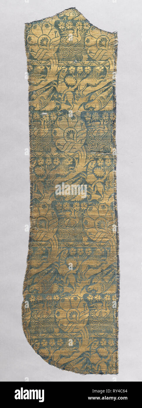 Chasuble Fragment with Realistic Animals, c. 1420. Italy. Silk, gold thread; lampas weave; average: 113.7 x 29.2 cm (44 3/4 x 11 1/2 in - Stock Image