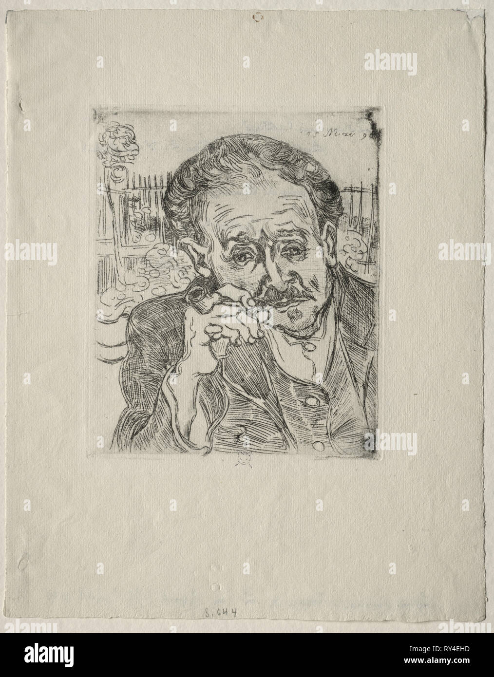 Dr. Gachet, 1890. Vincent van Gogh (Dutch, 1853-1890). Etching and drypoint, enhanced with black ink on laid paper; 18.1 x 15.2 cm (7 1/8 x 6 in - Stock Image