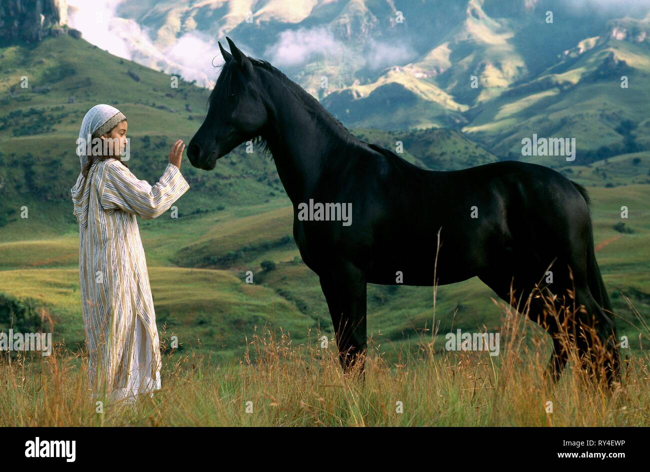 BIANA TAMIMI WITH STALLION, THE YOUNG BLACK STALLION, 2003 - Stock Image
