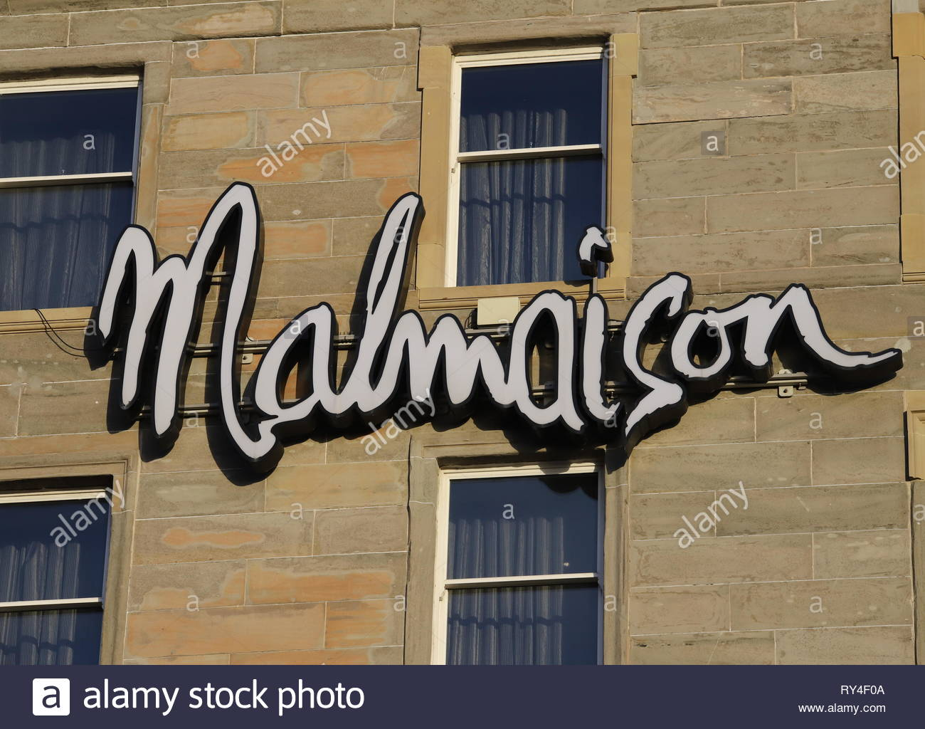 Sign of Malmaison Hotel Dundee Scotland  March 2019 Stock Photo
