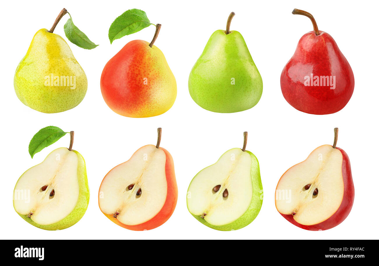 Isolated pears collection. Fresh pears of different colors, whole fruits and halves isolated on white background with clipping path Stock Photo