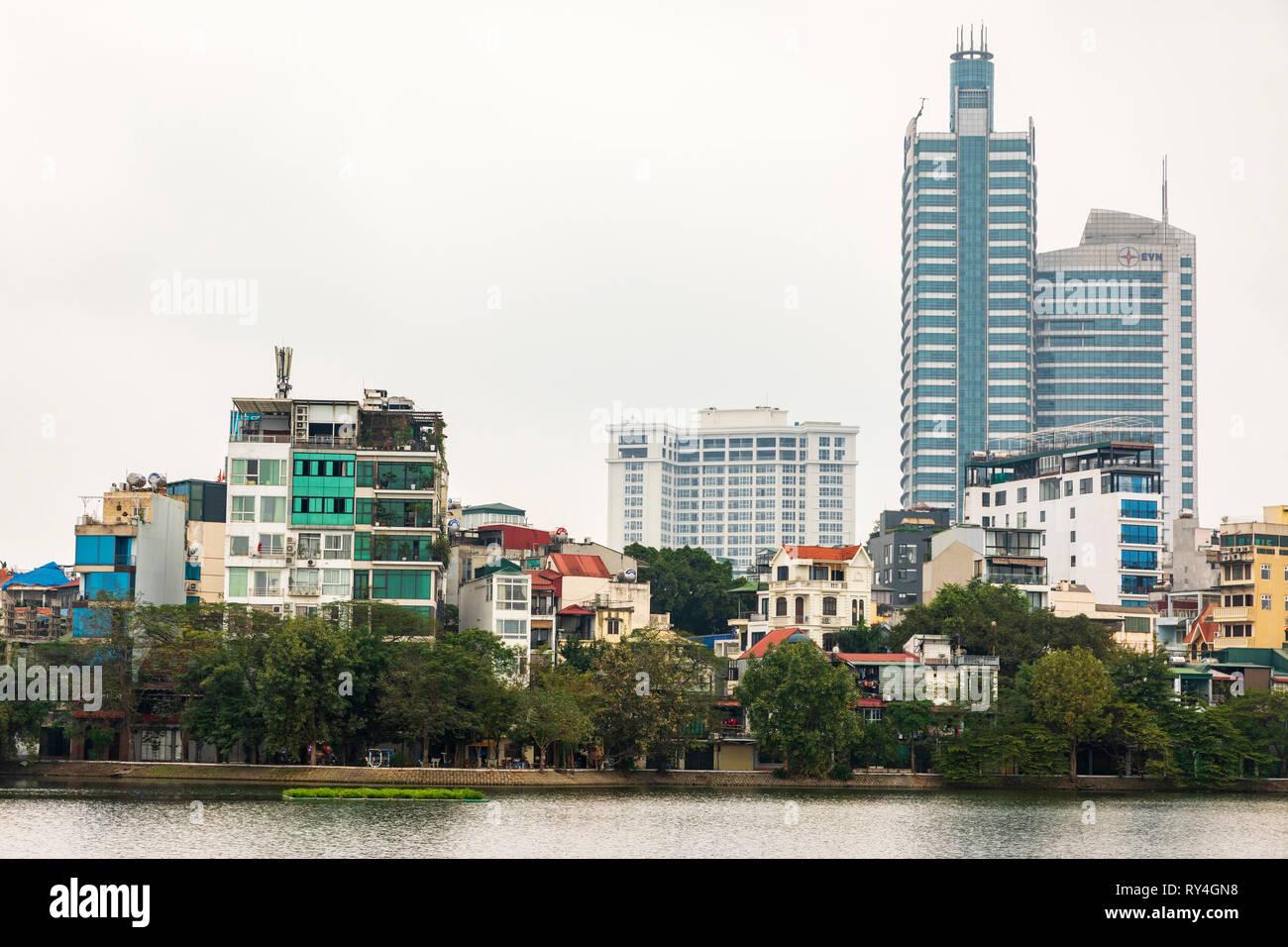 Hanoi skyline across Truc Back Lake, Hanoi, Vietnam, Asia - Stock Image