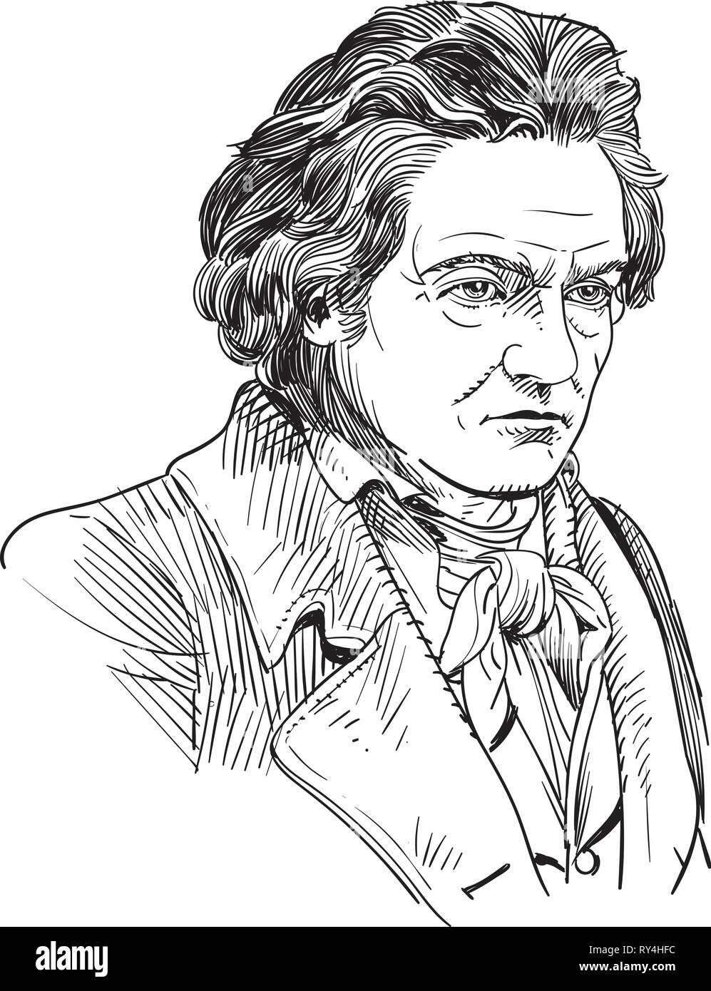 Ludwig van Beethoven portraitin line art illustration Stock Vector