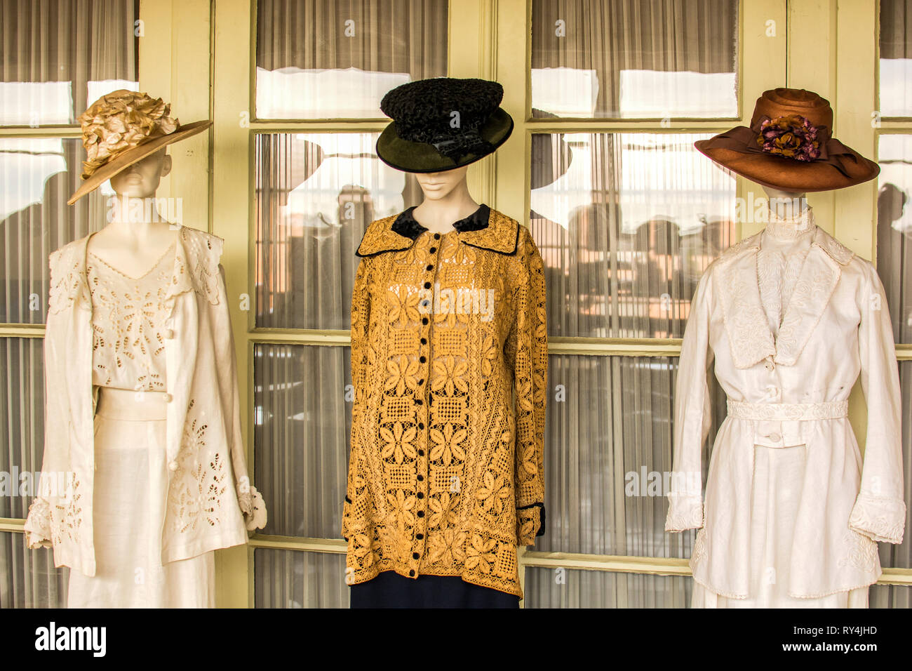 Examples of women's fashion from the 1890's, United States. - Stock Image