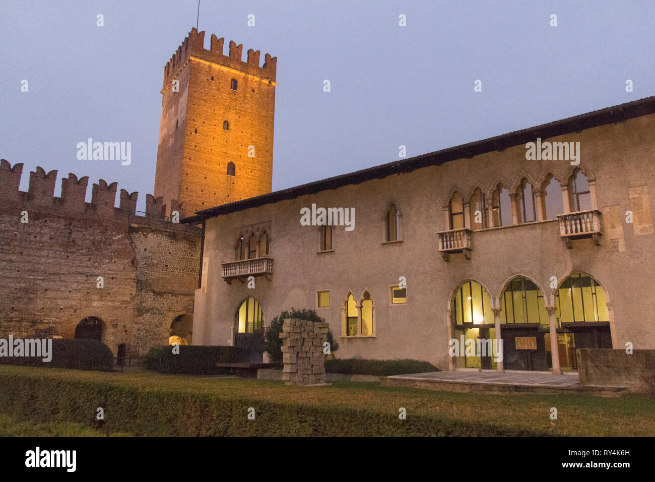 Italy, Verona - December 08 2017: the view of inner yard of Castelvecchio at night on December 08 2017, Veneto, Italy. - Stock Image