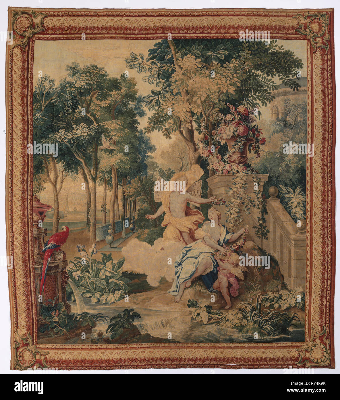 Flora and Zephyrus (from Set of Ovid's  Metamorphoses), 1704-1731. Gobelins (French). Tapestry weave; overall: 328.3 x 300.4 cm (129 1/4 x 118 1/4 in - Stock Image