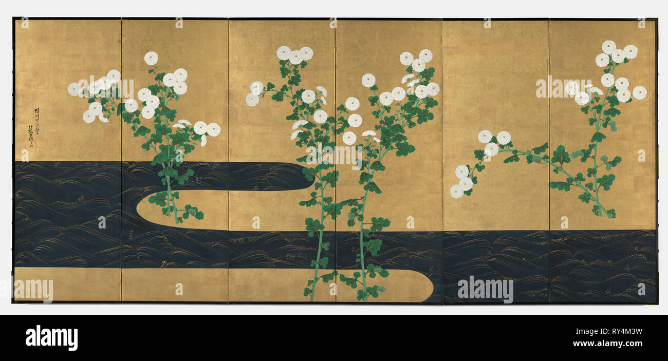 Chrysanthemums by a Stream, late 1700s-early 1800s. Follower of Ogata Korin (Japanese, 1658-1716). One of a pair of six-panel folding screens; ink and color on gilded paper; image: 163.2 x 369.9 cm (64 1/4 x 145 5/8 in - Stock Image