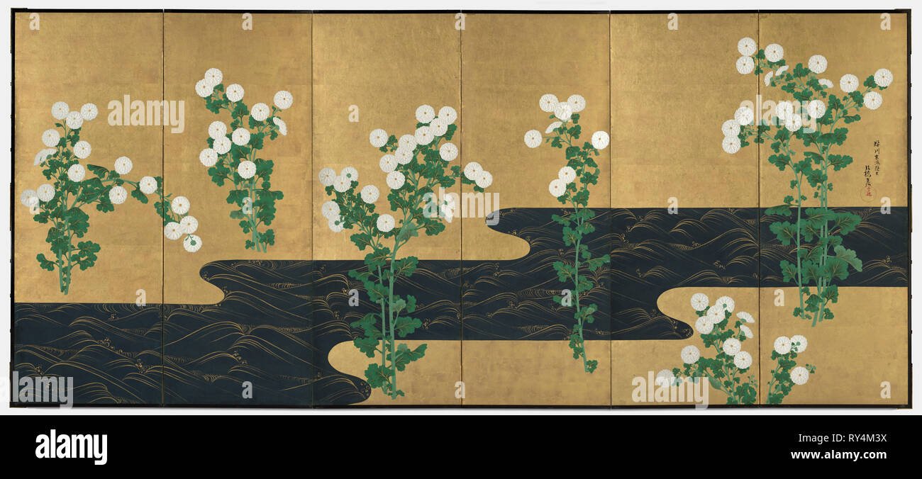 Chrysanthemums by a Stream, late 1700s-early 1800s. Follower of Ogata Korin (Japanese, 1658-1716). Pair of six-panel folding screens; ink and color on gilded paper; overall: 163.2 x 369.9 cm (64 1/4 x 145 5/8 in - Stock Image