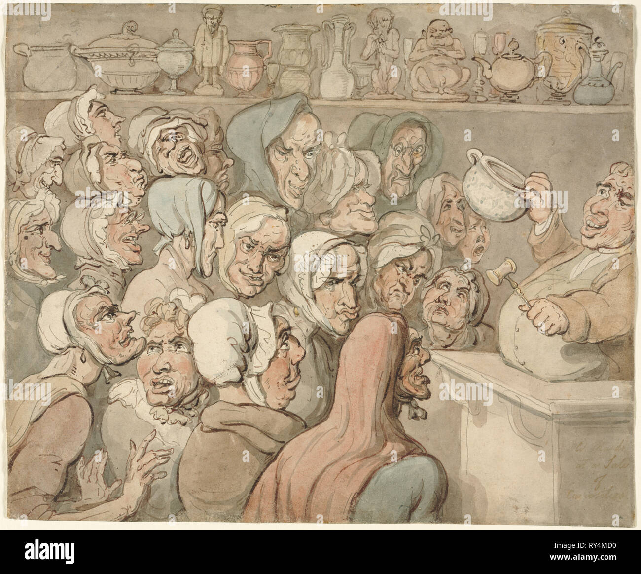 Old Maids at a Sale of Curiosities. Thomas Rowlandson (British, 1756-1827). Pen and brown and gray ink and watercolor wash - Stock Image