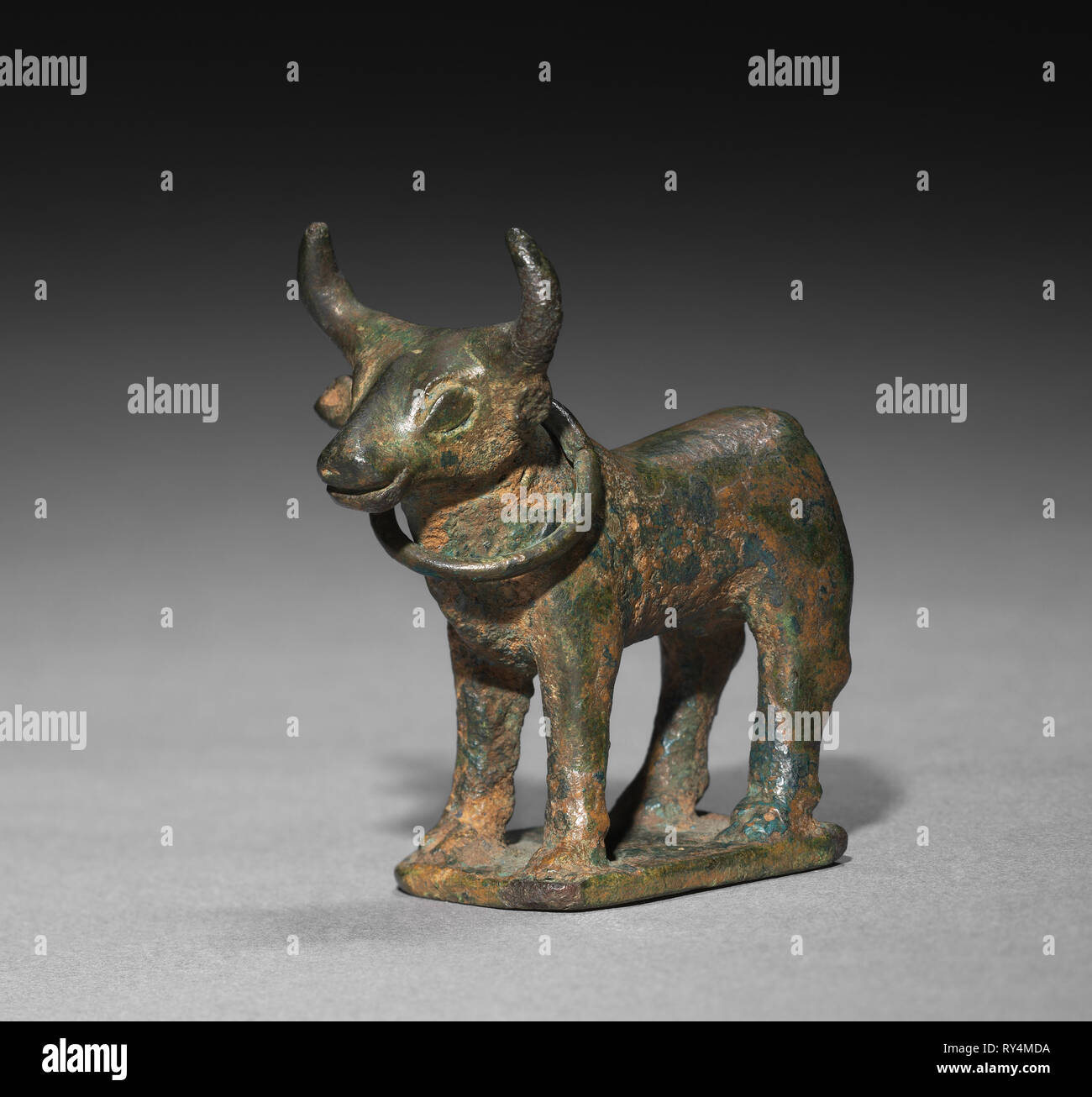 Statuette of a Bull with Curved Horns, probably late 2nd millennium BC. Provenance uncertain, Probably late 2nd millennium BC. Bronze; overall: 6.1 x 2.9 x 6.4 cm (2 3/8 x 1 1/8 x 2 1/2 in.); with base: 7.4 x 2.9 x 6.4 cm (2 15/16 x 1 1/8 x 2 1/2 in - Stock Image