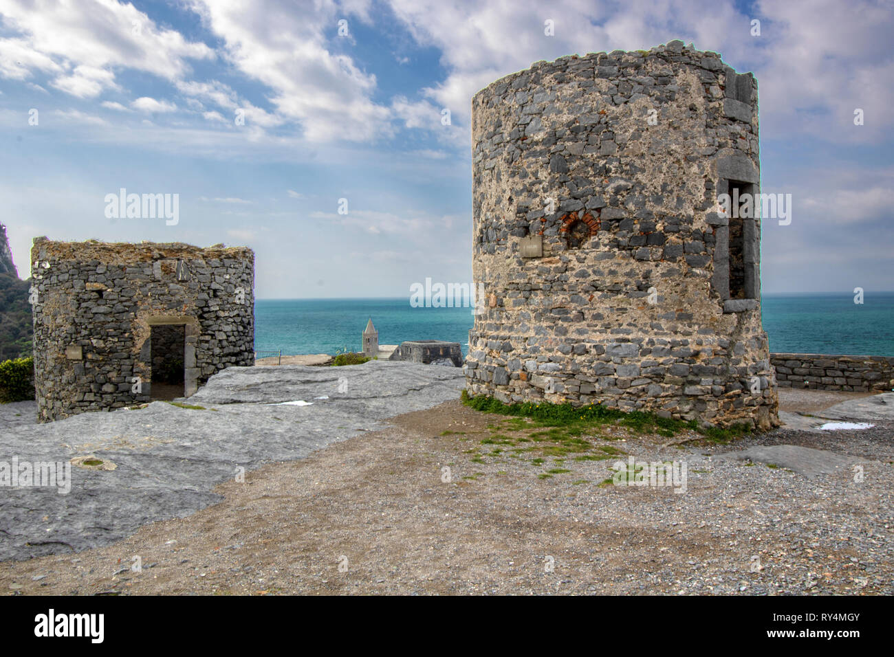 Two ancient mills on the hill of Porto Venere, Liguria, Italy - Stock Image