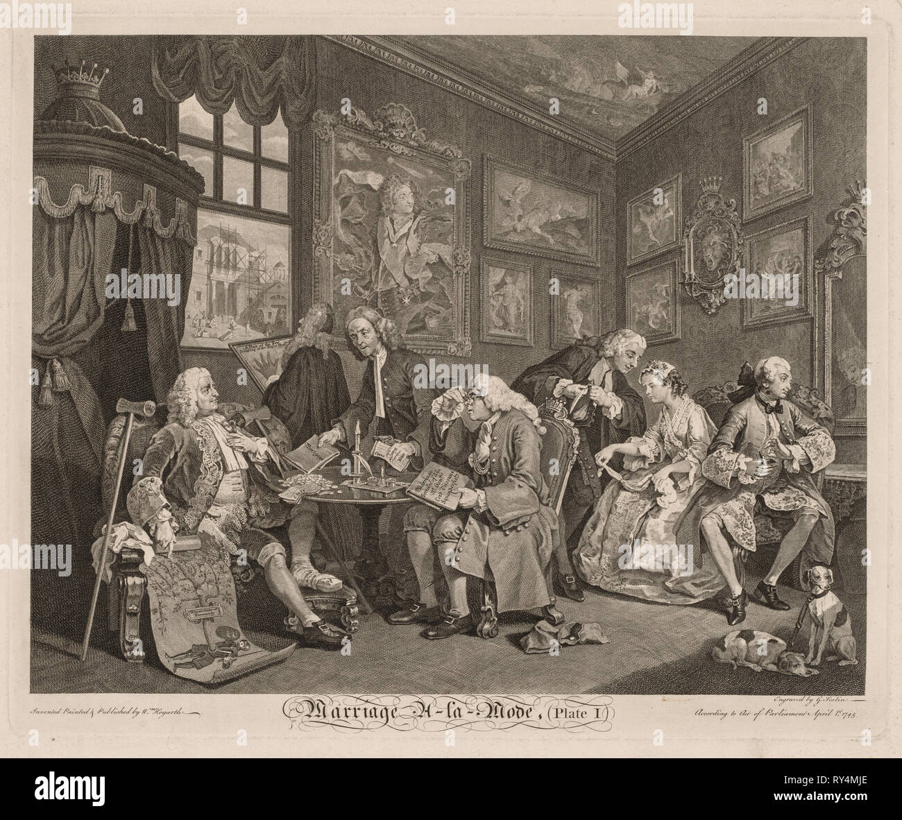Marriage à la Mode, 1745. William Hogarth (British, 1697-1764). Engraving Stock Photo