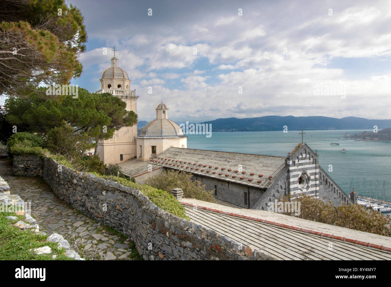 Scenic view of Porto Venere and gulf of Poets as seen from the hill - Stock Image