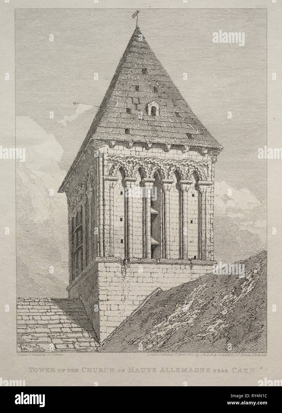 Tower of the Church of Haute Allemagne near Caen. John Sell Cotman (British, 1782-1842). Etching - Stock Image
