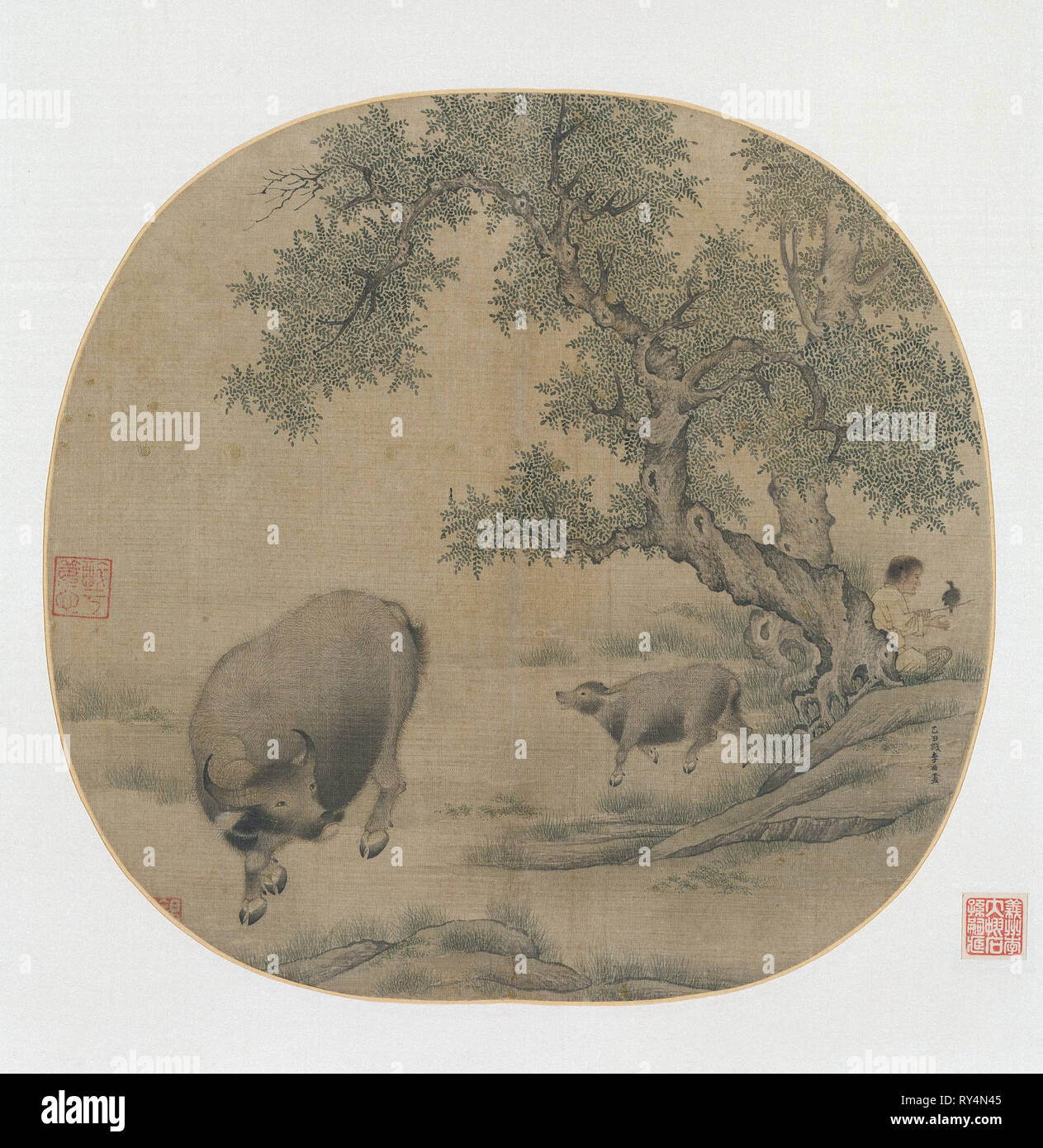Man, Buffalo, and Calf, 1205 or 1265. Li You (Chinese, 1200s). Album leaf; ink and color on silk; image: 25 x 26.7 cm (9 13/16 x 10 1/2 in.); with mat: 33.3 x 40.5 cm (13 1/8 x 15 15/16 in - Stock Image