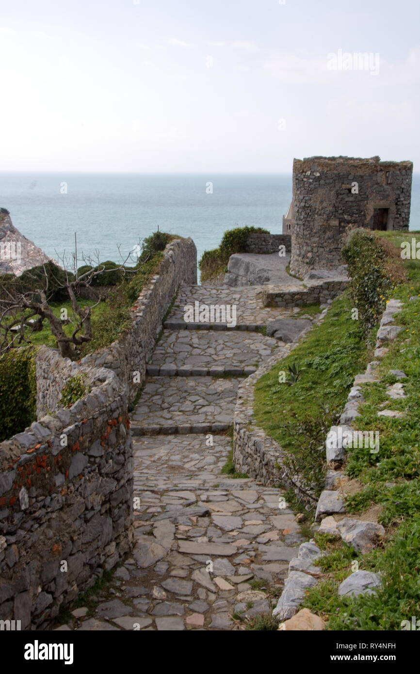 The path to the castle witn beautiful landscape of gulf of poets in Porto Venere, Liguria - Stock Image