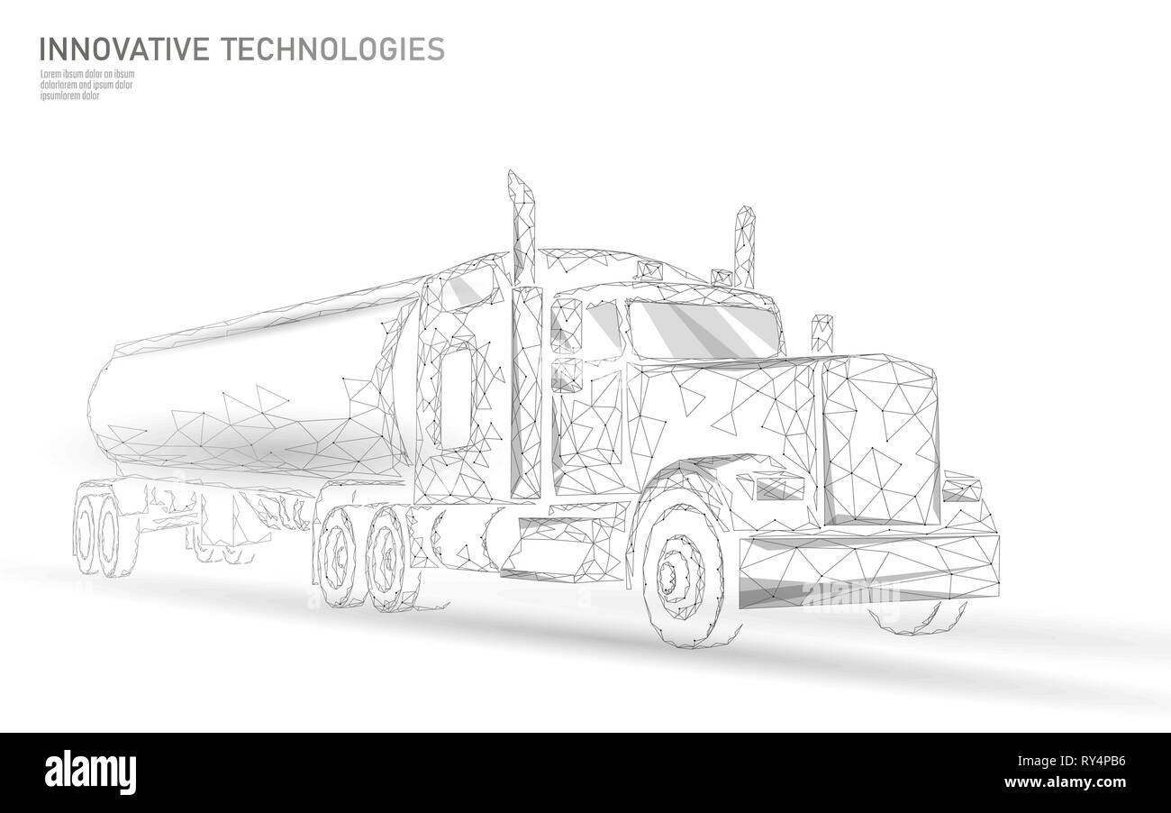 American truck low poly. Logistic transportation business trailer. Fast speed industry cargo delivery big heavy vehicle perspective view on highway - Stock Vector