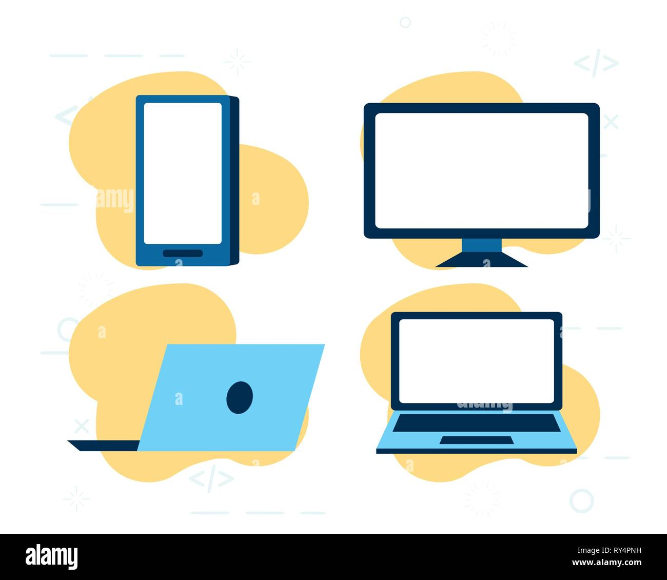 set technology gadgets - Stock Image