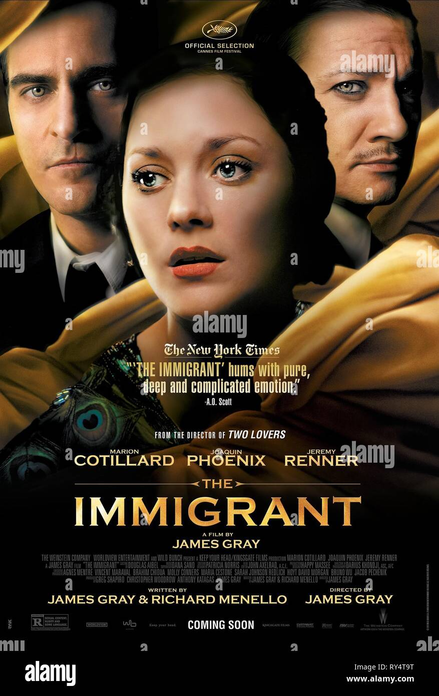 JOAQUIN PHOENIX, MARION COTILLARD,JEREMY RENNER POSTER, THE IMMIGRANT, 2013 - Stock Image