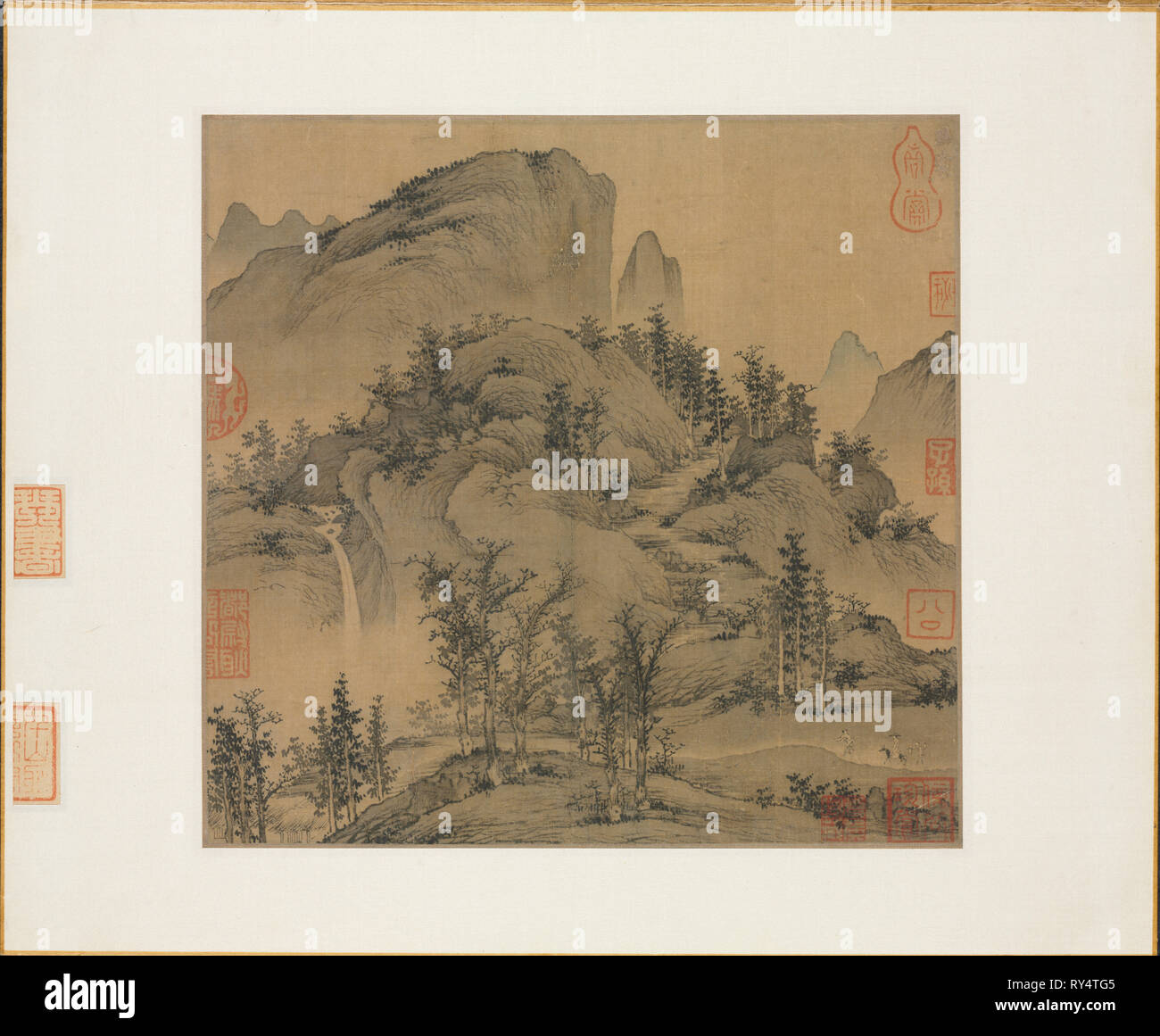 Travelers in Autumn Mountains, 1st half 1300s. Sheng Mou (Chinese, active c. 1310-1350). Album leaf, ink and slight color on silk; image: 24.4 x 26.5 cm (9 5/8 x 10 7/16 in - Stock Image