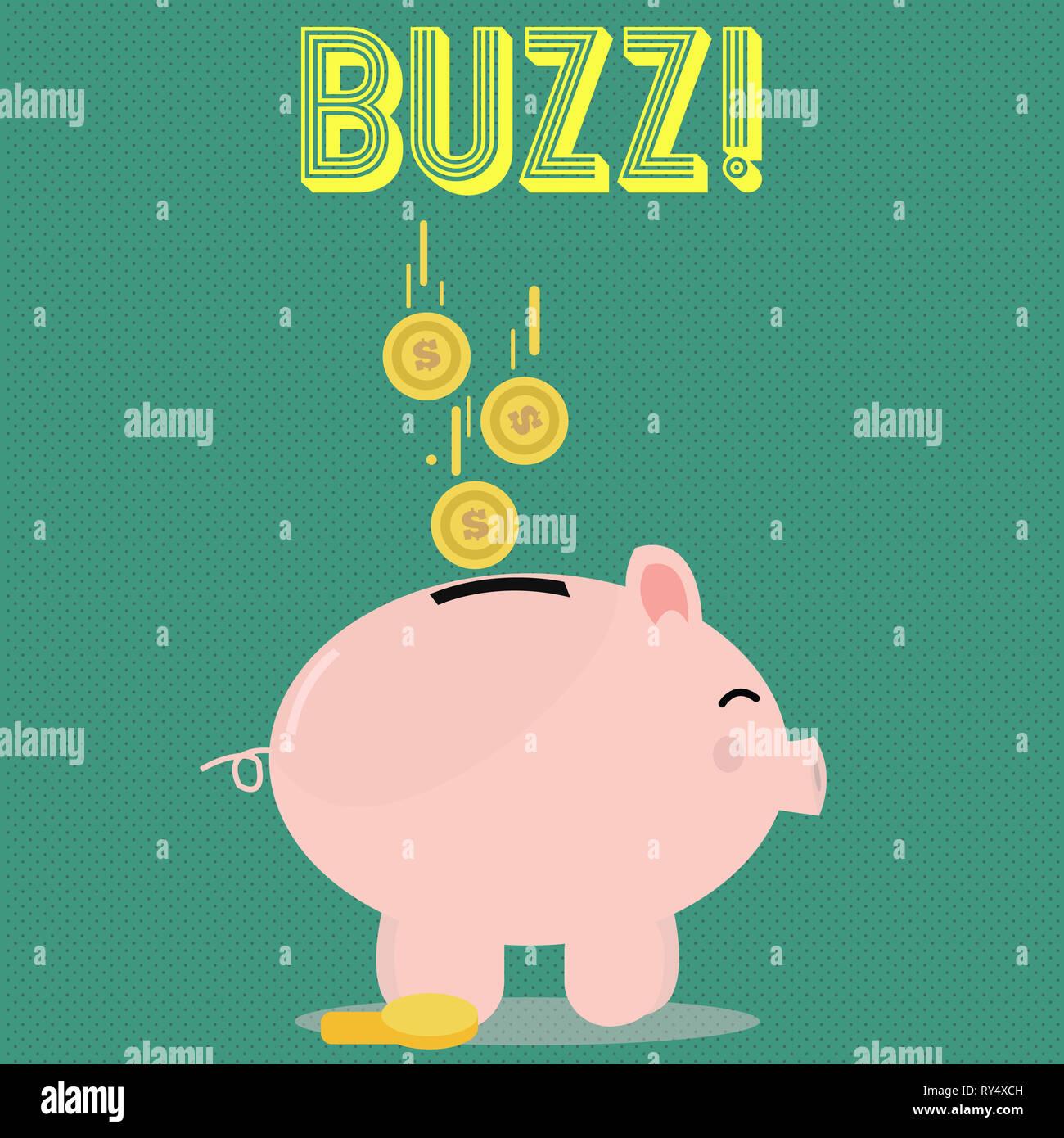 Handwriting text Buzz. Conceptual photo Hum Murmur Drone Fizz Ring Sibilation Whir Alarm Beep Chime - Stock Image