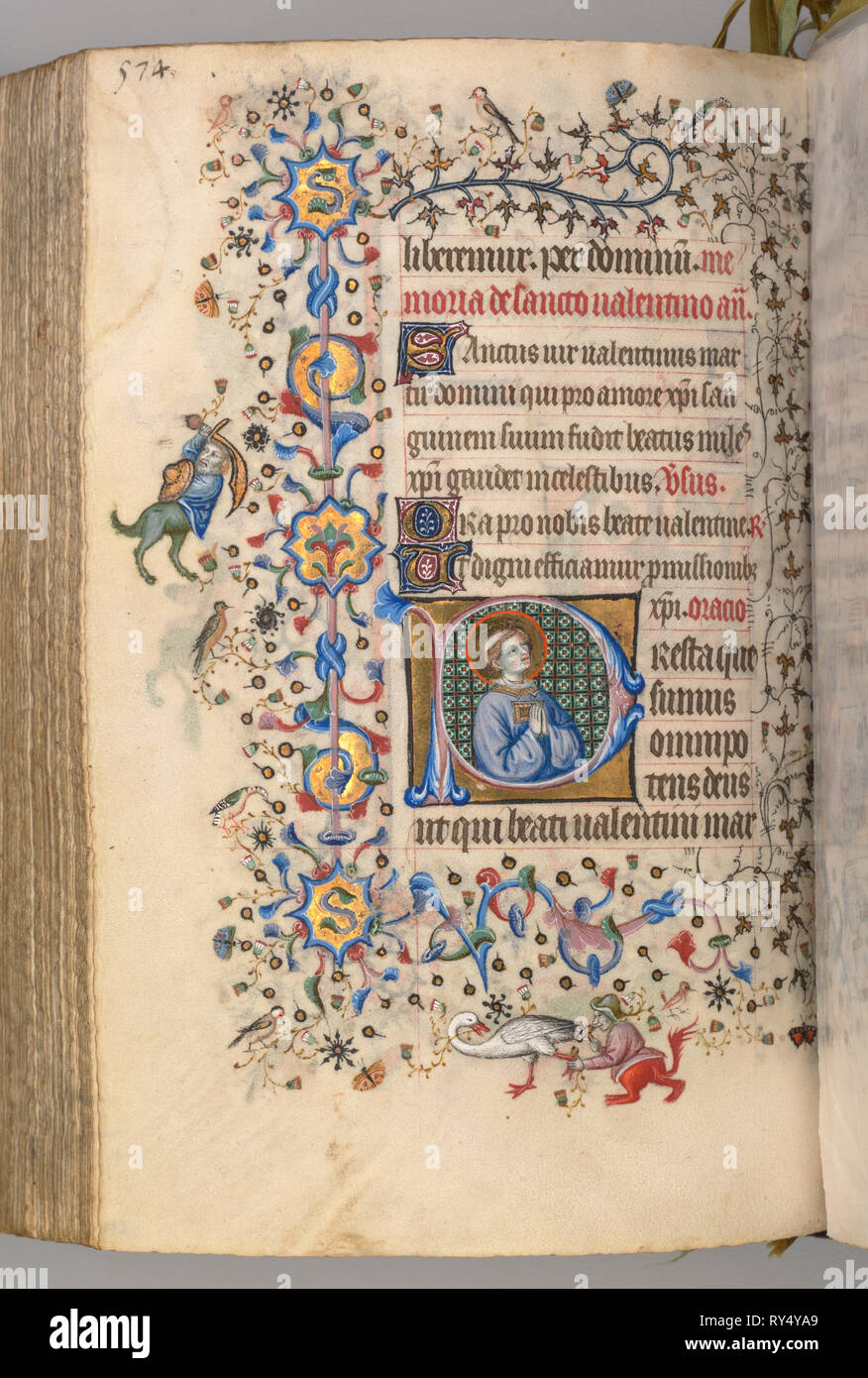 Hours of Charles the Noble, King of Navarre (1361-1425), fol. 281v, St. Valentine, c. 1405. Master of the Brussels Initials and Associates (French). Ink, tempera, and gold on vellum; codex: 20.3 x 15.7 x 7 cm (8 x 6 3/16 x 2 3/4 in - Stock Image