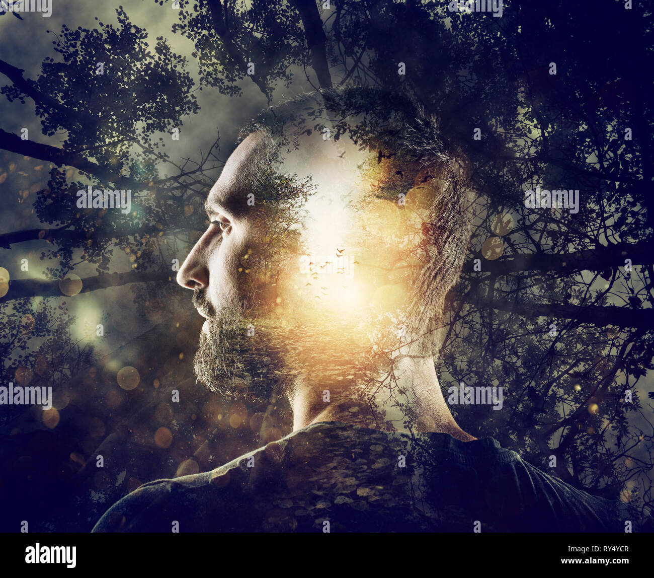 Boy with a mystical forest in mind. Double exposure - Stock Image