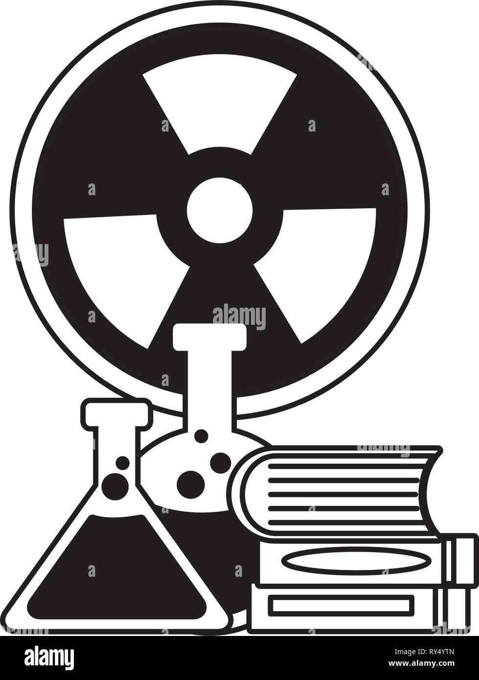 flasks books radiation sign - Stock Image